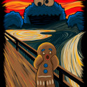 "The Cookie Monster spreads the panic in Munch's ""The Scream"""
