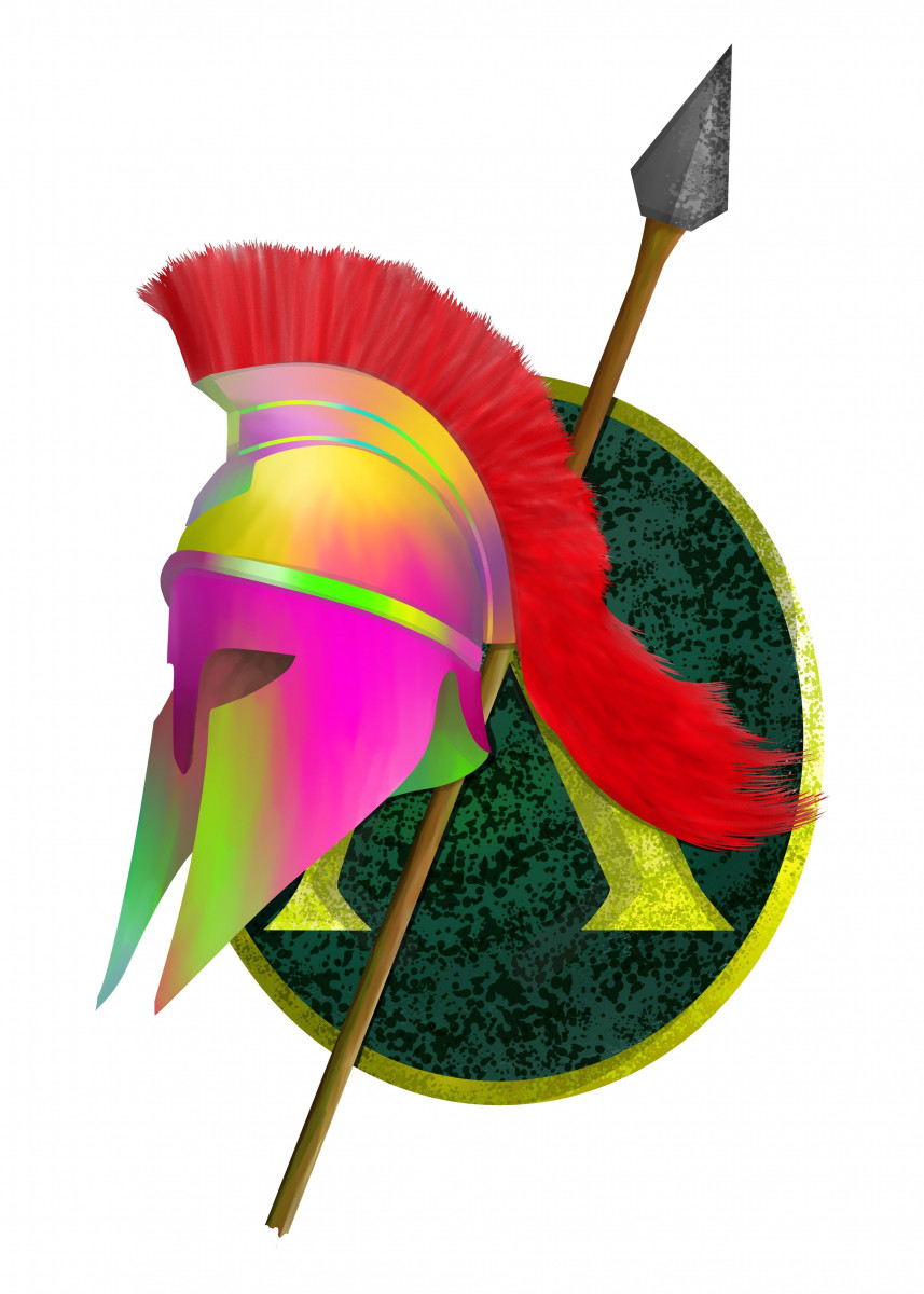 A colorful illustration of a Spartan or Greek warriors helmet, spear a 234852