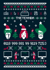 theitcrowd it crowd moss maurice roy jen barber christmas ugly sweater pixel art tnetennba