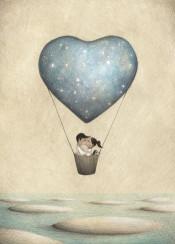 love dog sky stars kiss romantic balloon