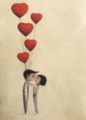 love kiss balloon heart