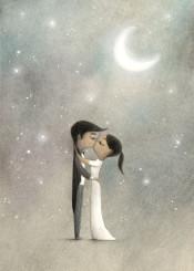 love kiss moon stars romantic