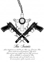 the boondock saints movie religion 9mm pistole beretta brothers god family pray fanart cross rose black white