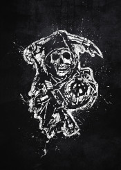 sons of anarchy biker bike gang motorcycle patch california jax tv show black white splat splatter grim reaper logo emblem symbol skull