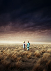 boy girl friends field sky dreamy smooth feeling emotion conceptual