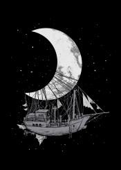 moon ship space fantasy stars black white