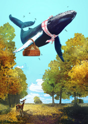 autumn whale animals landscape surreal