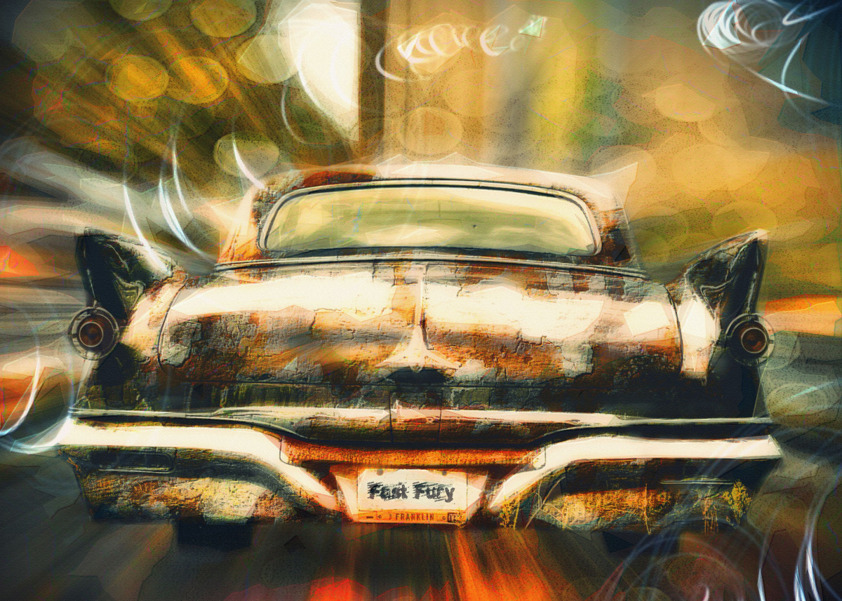 Photo art creation of vintage car in motion