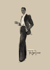 ysl yvessaintlaurent fashion fashionart art watercolor aquarelle womensuit pinstripe chic stylish helmutnewton smoking tuxedo classic vintage fashionillustration