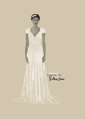 valentino designer fashion couterier couture wedding dress watercolor aquarelle chic style simple bride fashionart fashionpainting