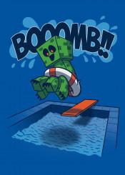 creeper summer minecraft bomb jump swim swimmingpool swiming pool humor funny videogames games gamer gaming video