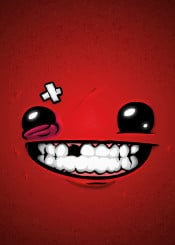 meat boy super supermeatboy red happy face game facegame art fanart poster play hero