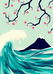 love japan wave blossom ocean sea moutain fuji