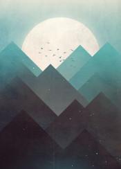 nature landscape moon vector art digital illustration birds sky stars mountain ice