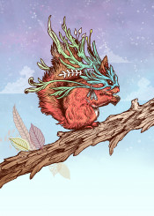 squirrel animals nature fantasy magical cute winter leaves drawing illustration red orange