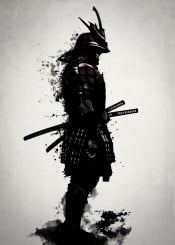 samurai warrior ronin ninja armour armor sword katana spatter ink dark japan japanese