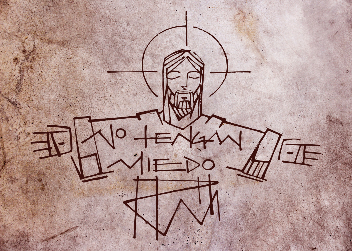 Hand drawn illustration or drawing of Jesus Christ and a phrase in spa
