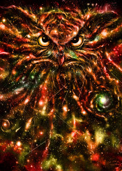 owl birds space stars galaxy universe nature animals paint painting