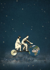 love tandem bicycle earth moon universe couple
