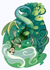 mermaid siren conceptart scene indie visualart fineart beautiful original unique awesome water green color vibrant colorful character design waterlily women woman nature saturated fantasy plants decorative pretty creature monsters mythology magic magical witch floating whimsy whimsical surreal