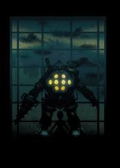lights bioshock bio water underwater suit big daddy little sister gamer gaming games indie sky stars fanfreak anime ink inking bright minimal cool vintage