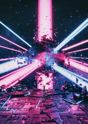 scifi retro fantasy space galaxy stars abstract illustration explosion tech blue pink neon