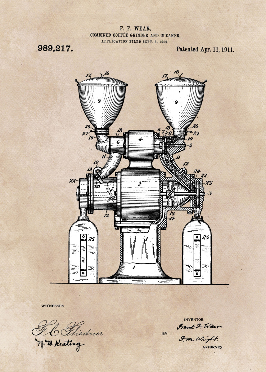 patent art Wear Combined Coffee grinder and cleaner 1911 246208