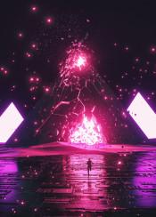 scifi fantasy retro pyramids triangles explosion purple white desert dunes tech space stars galaxy black neon