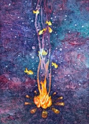 watercolor campfire adventure fire fishes bubbles stars night space intothewild woods outdoors camp nature animals magic magical textures kids child children fantasy