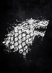 game of thrones stark sigil emblem symbol wolf song ice fire white black splat splatter