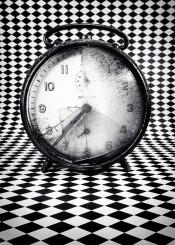 morning black white clock optical queasiness time broken