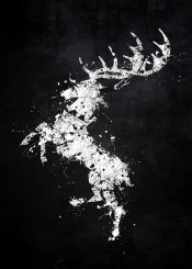 game of thrones house baratheon sigil robert stannis deer stag white black splat splatter emblem logo symbol song fire ice