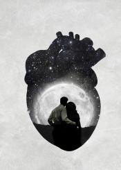 love couple heart sky stars moon