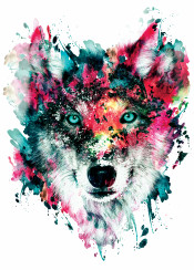 wolf watercolor wildlife wallart