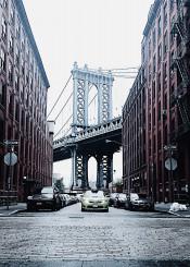 nyc brooklyn usa travel dumbo bridge manhattan street urban car fog citylife view cold minimal