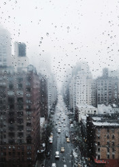 nyc newyork manhattan rain drop fog street road macro nidtown overcast style urban life usa travel mood