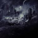 Halo city under attack by banshees at night.