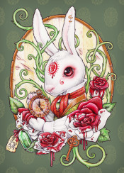 white rabbit alice wonderland im late blood roses steampunk rabbithole medusa dollmaker art illustration design halloween