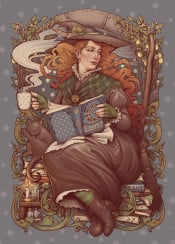 gothic witch halloween pagan medusa dollmaker cozy art nouveau artnouveau books reader ginger redhead wicca