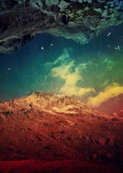 landscape mountains surreal colourful red blue texture manipulation doubeexposure alps sky stars clouds