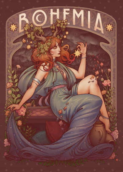 Medusa Dollmaker Art Nouveau   Displate Prints on Steel