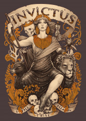invictus poem medusa dollmaker tarot card strenght lion deer william ernest henley skulls nouveau klimt stars death golden painting