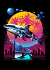 shark sharks animal animals rad cyberpunk original neon