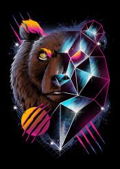 bear rad retro neon animal cyberpunk punk