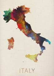 watercolor map italy rome