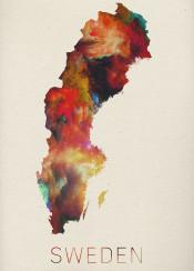 watercolor map sweden