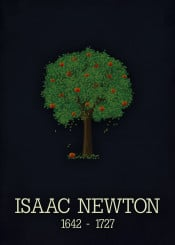 isaac newton science gravity force appletree poster physics