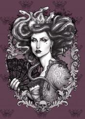 medusa dollmaker art mythology greek gorgon baroque barroco sinister gothic skull engraving filigree purple black white snakes ancient greece goddess imperatrix