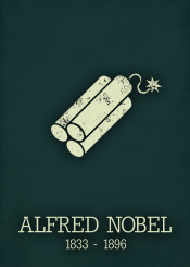 alfred nobel price dynamite science chemistry poster
