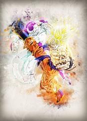 goku frieza dbz dragon ball z anime manga comic cartoon game gaming gameing cool art fight hero